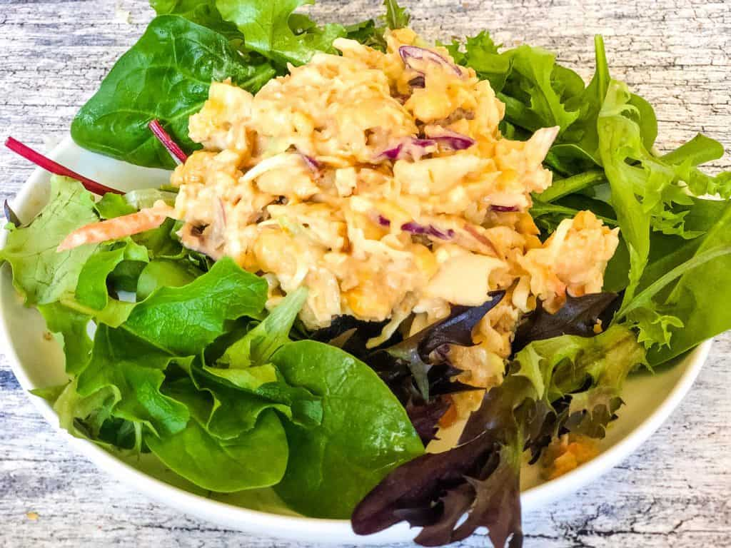 bbq chickpea salad on bed of lettuce