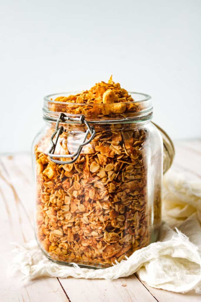 granola in glass jar