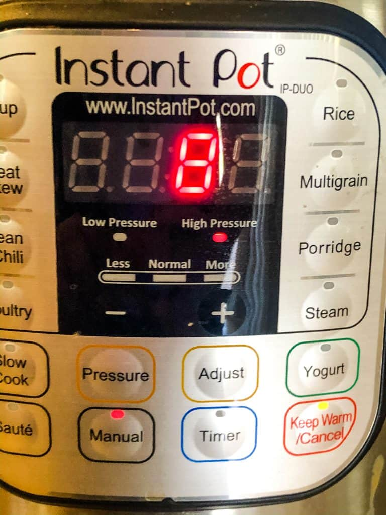 Instant Pot with 8 minutes on timer