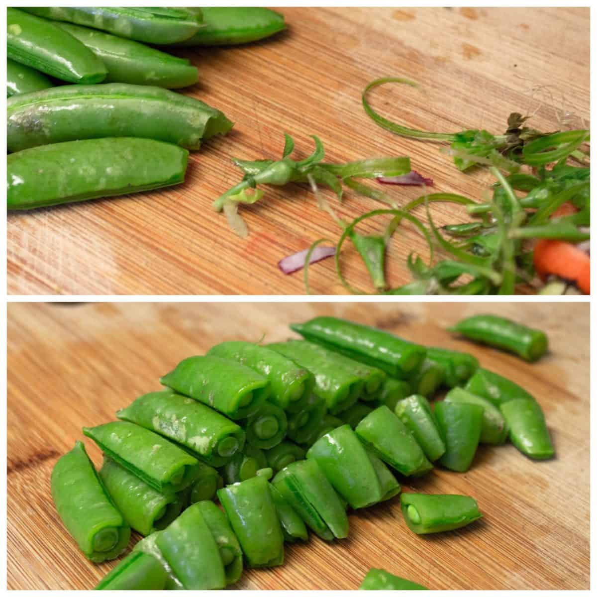 two photos of sugar snap peas showing stringy parts removed and also showing 1 inch cuts