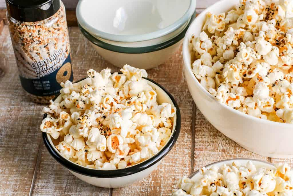 three bowls of popped popcorn with Everything Bagel Seasoning