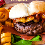 Hawaiian burger on plate with fries with pinterest text overlay