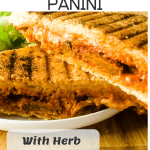pizza panini halves on white plate with pinterest text overalyy