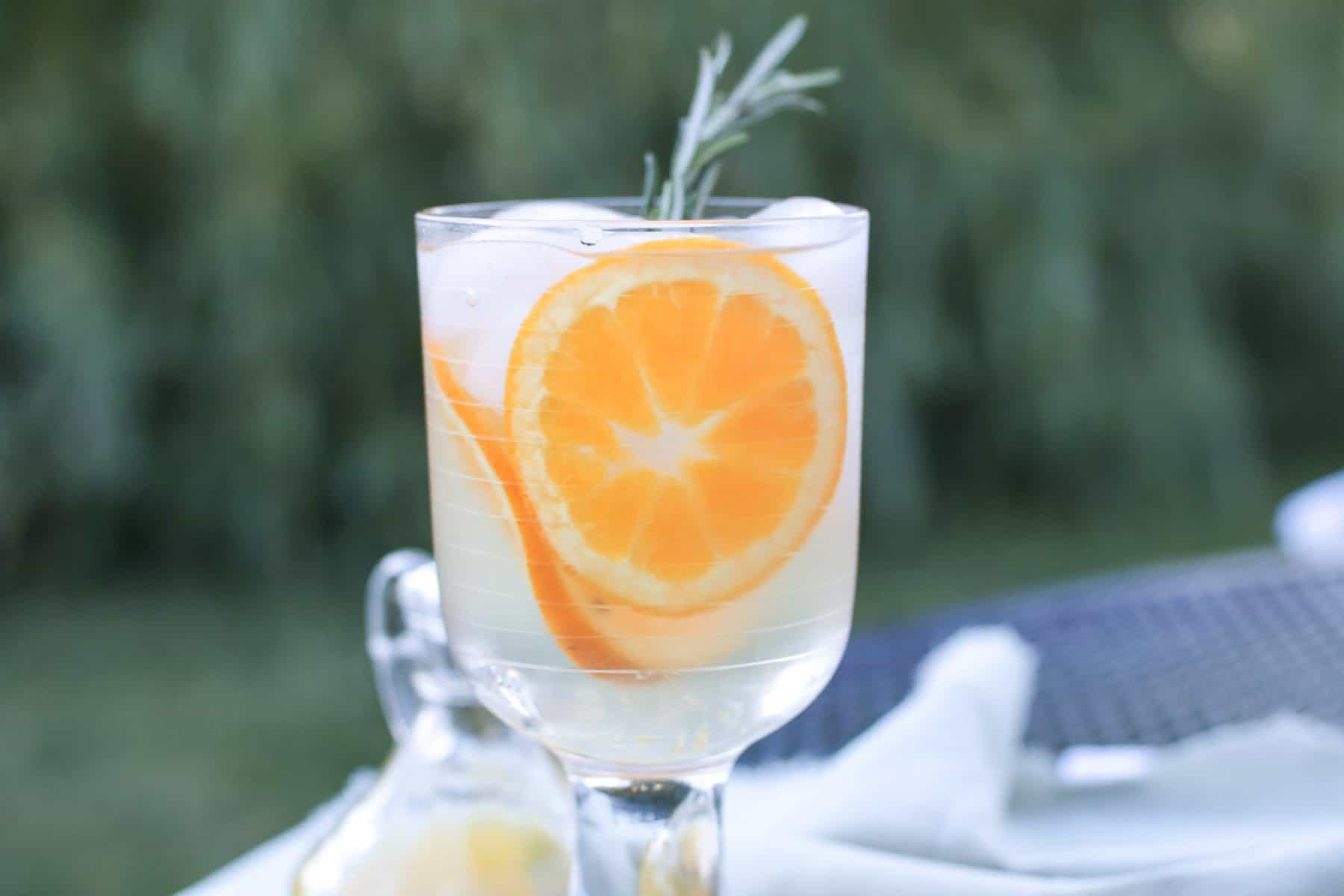 cirtrus champagne in stemmed glass with oranges in background