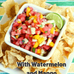 watermelon mango salsa in square white dish with chips - pinterest text overlay