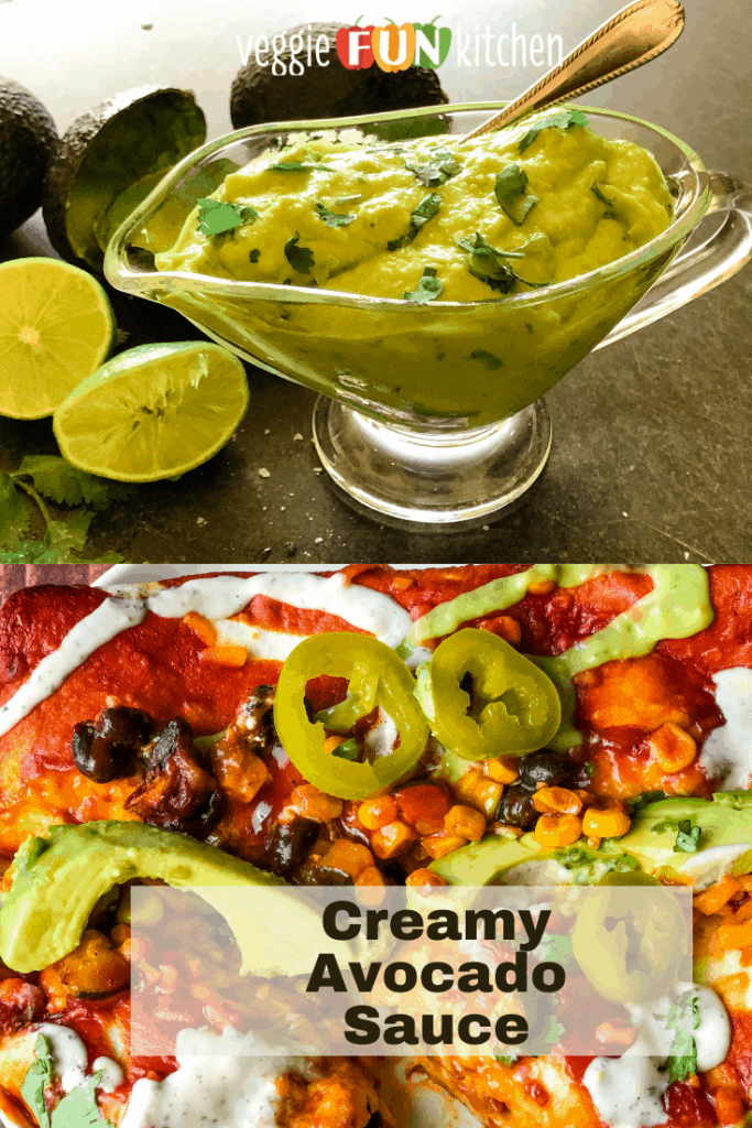 avocado cream sauce in glass gravy boat on top with enchiladas on bottom with pinterest text overlay
