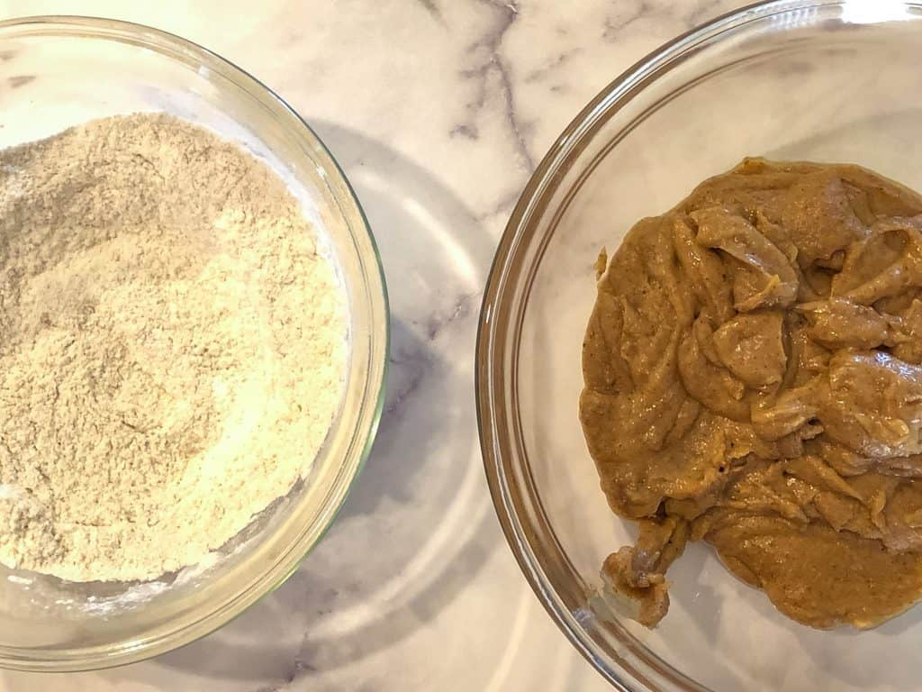 dry ingredients in bowl on left and wet ingredients in bowl on right for almond butter blondies