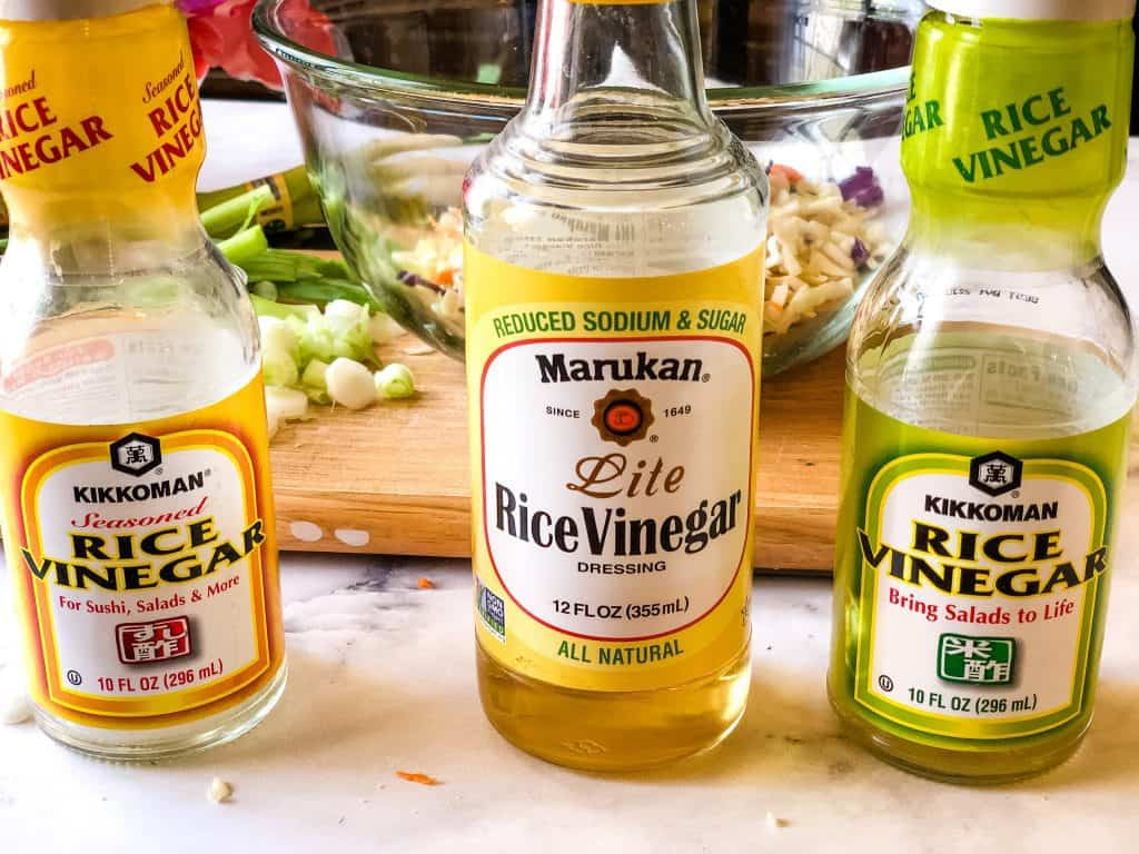 three types of rice vinegar including seasoned, lite, and regular unseasoned
