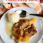 peach dump cake on white plate with vegan ice cream with pinterest text overlay