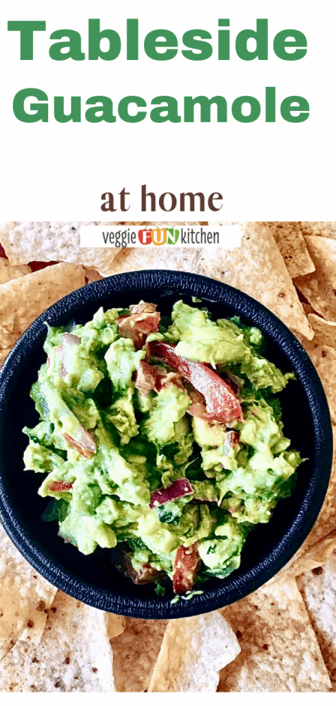guacamole and chips with pinterest text overlay