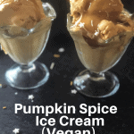 two glass ice cream dishes with pumpkin ice cream with caramel sauce and sprinkles with pumpkins in background and text overlay