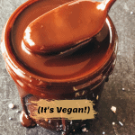 jar of chocolate sauce with spoon dipping out a luscious serving with pinterest text overlay