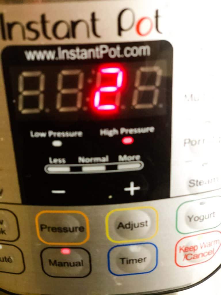 Instatant Pot set for 2 minutes