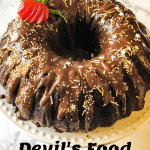 devil's food cake covered with chocolate ganache with pinterest text overlay