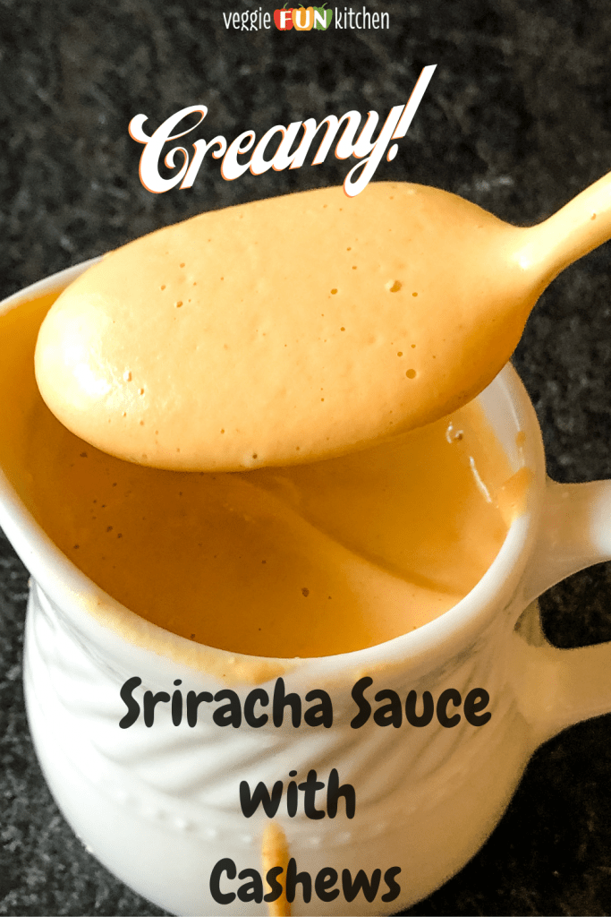 spooning out creamy sriracha sauce with pinterest text overlay