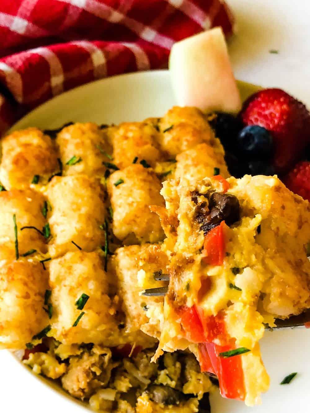 tater tot breakfast casserole on plate