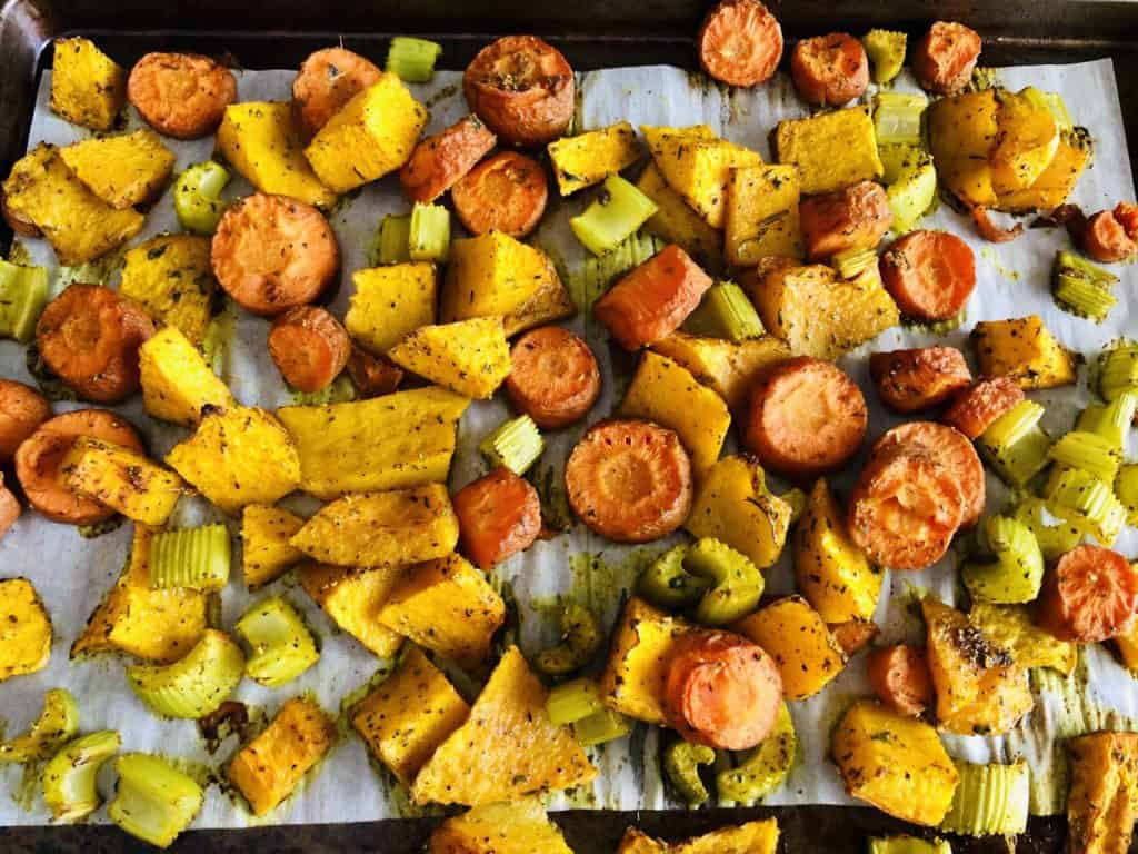 roasted vegetables on cookie sheet