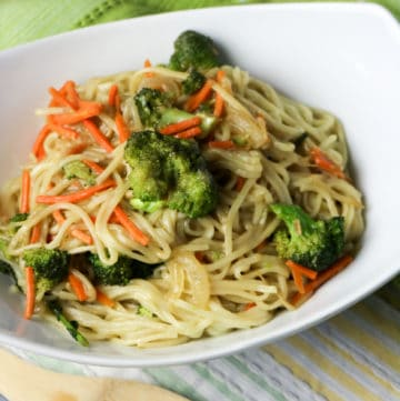 plate of asian noodles with veggies