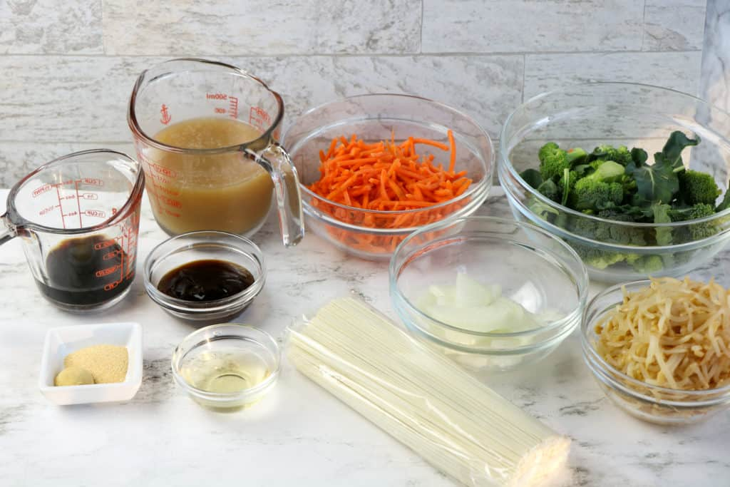 ingredients needed for asian noodles including bean sprouts, Broccoli, carrots, veggie broth, hoisin sauce, soy sauce,