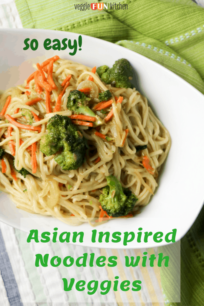 asian noodles on a plate with pinterest text overlay