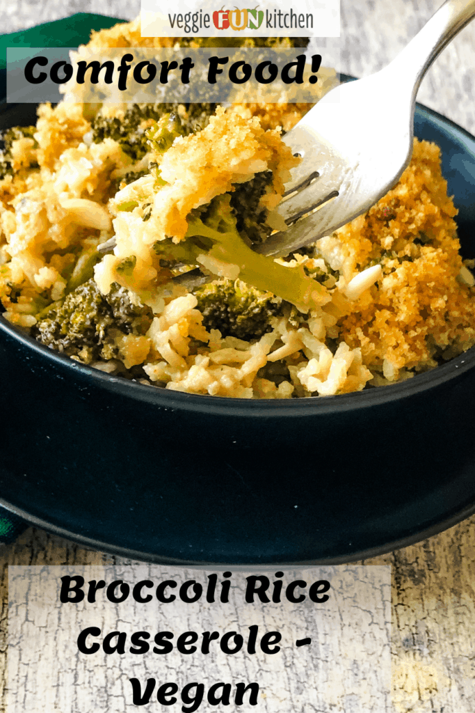 A fork serving up a delicious bite of Broccoli Rice Casserole in black bowl with pinterest text ovelay