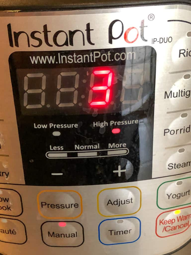 Instant Pot showing 3 minutes at high pressure