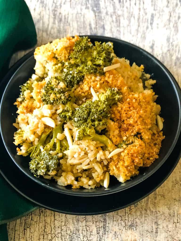 Broccoli Rice Casserole in black bowl