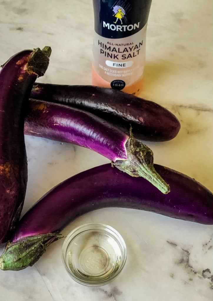 4 Chinese eggplant with salt and oil