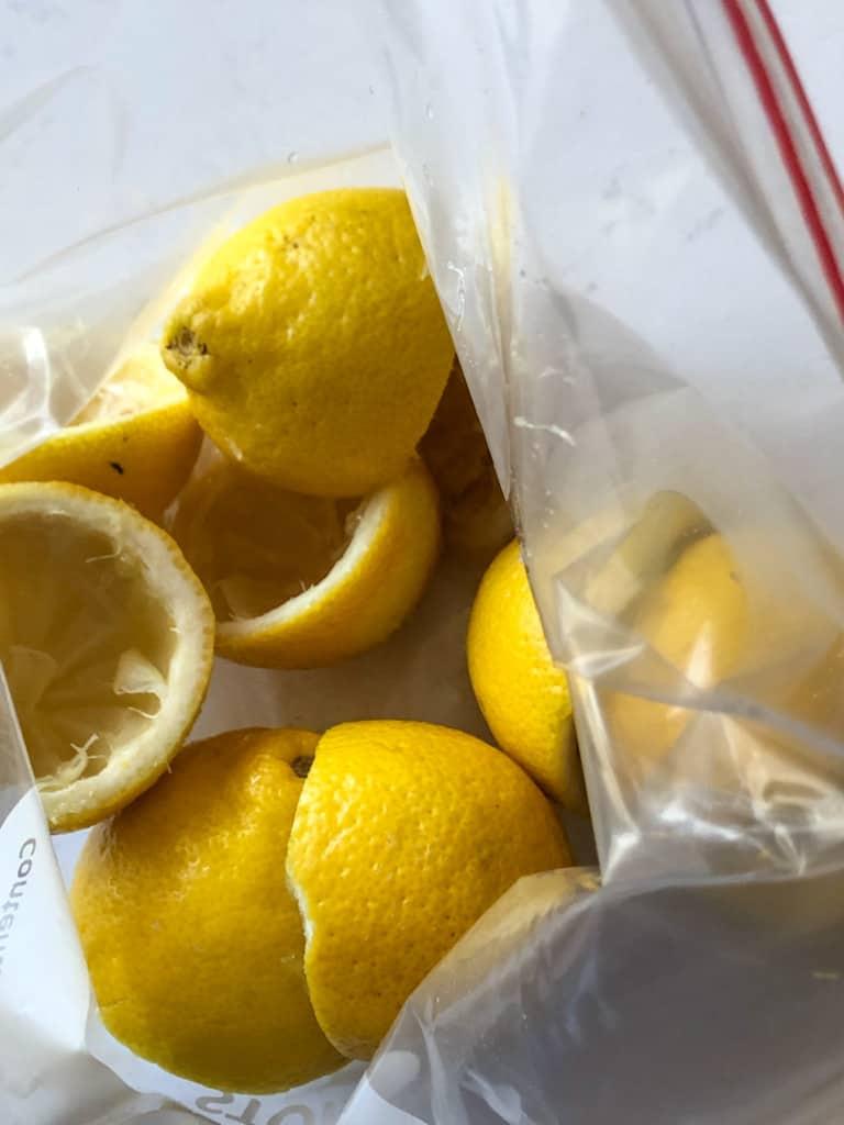 juiced lemons in a freezer bag