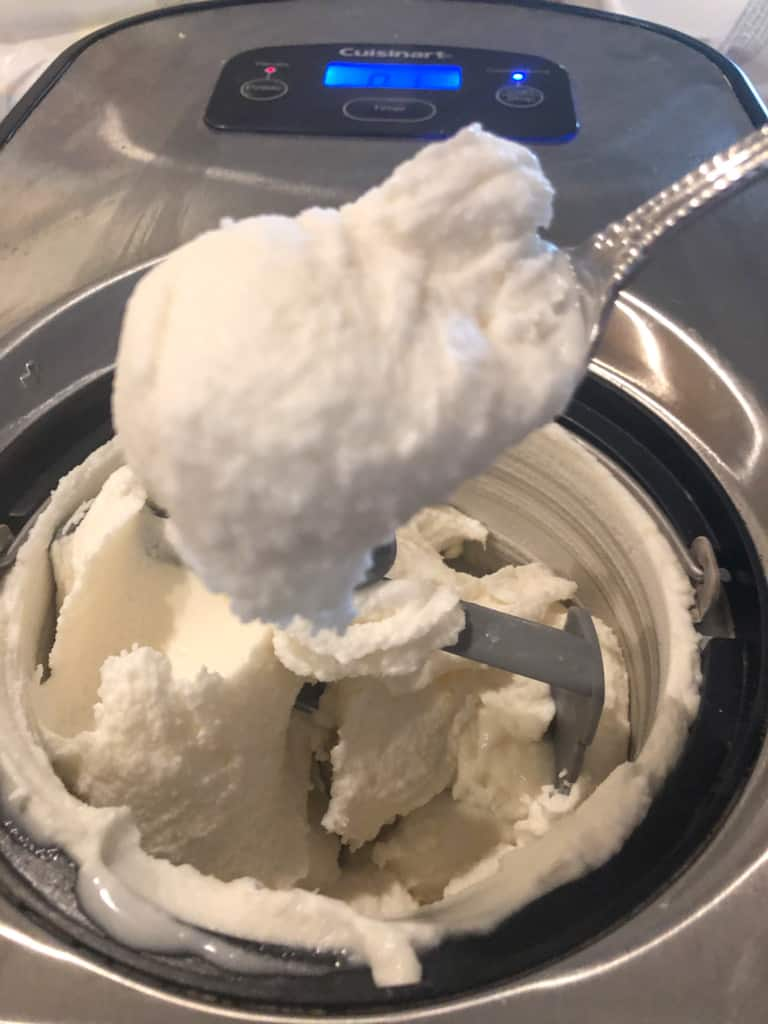 showing the soft-serve texture of the finished ice cream