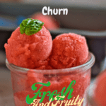 Scoops of strawberry basil sorbet in a glass ice cream dish with Pinterest text overlays
