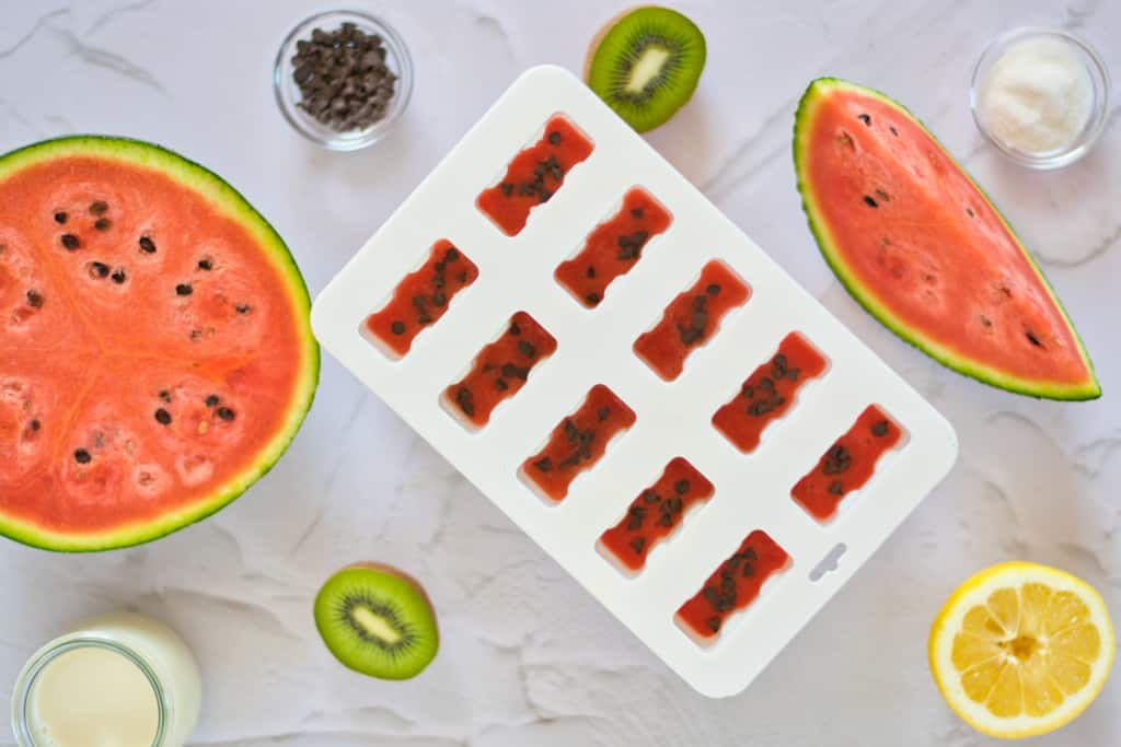 """the popsicle mold partially filled with blended watermelon with chocolate chip """"seeds"""""""