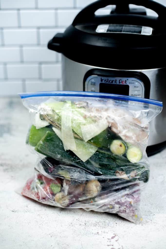 freezer bag of vegetables ready to make vegetable stock