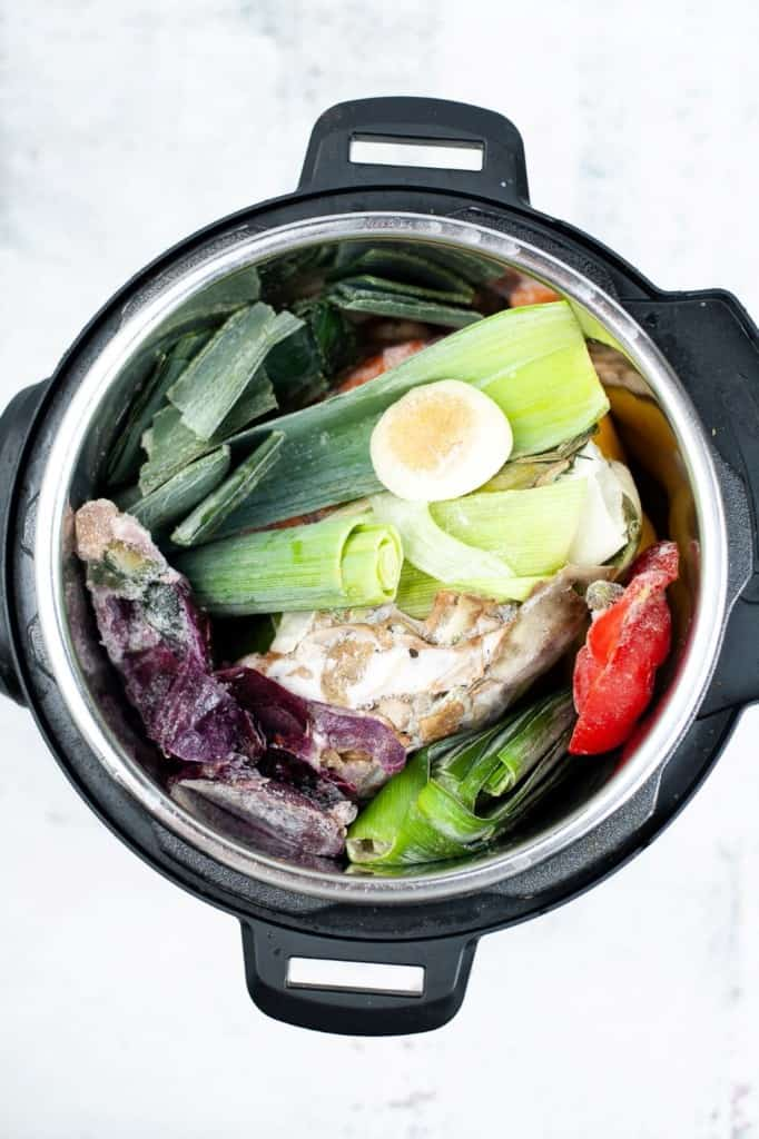 vegetables in instant pot ready to make sock