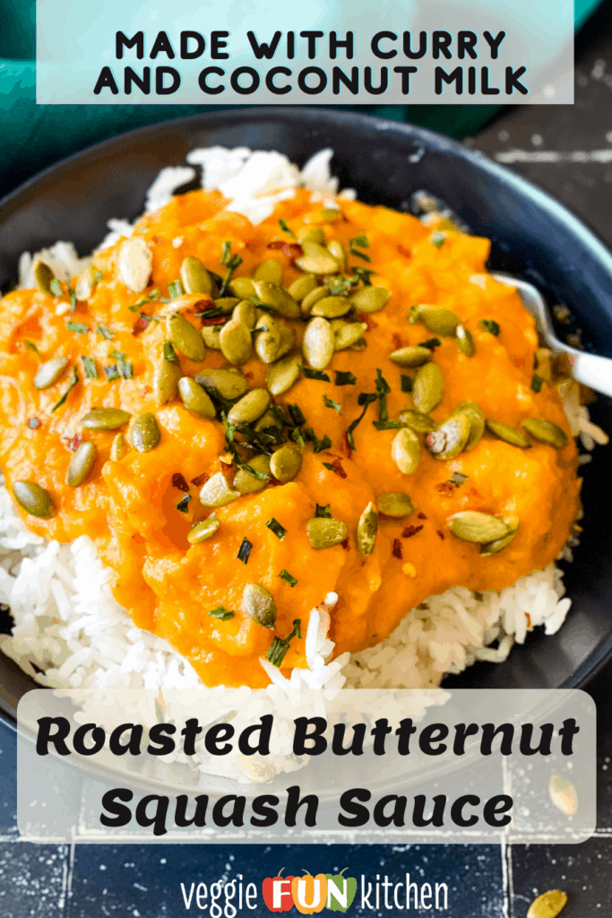 butternut squash sauce over rice with Pinterest text overlay