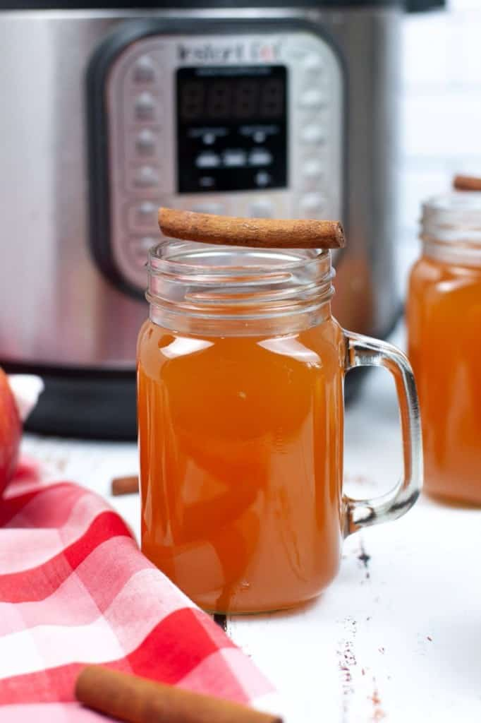 apple cider in glass mugs with apples and cinnamon sticks