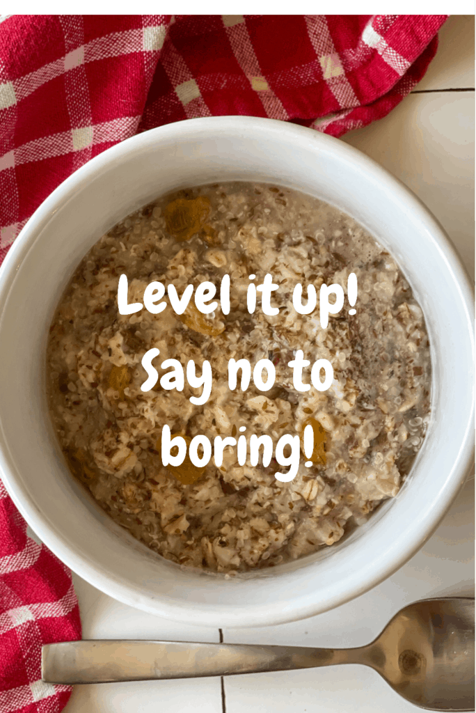 plain oatmeal in a bowl with text overlay