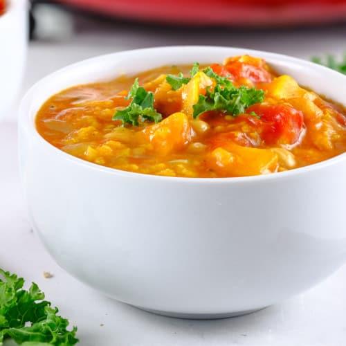sweet potato stew in a white bowl
