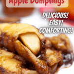 a plate of apple dumplings with pinterest text overlay
