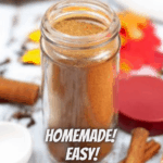pumpkin pie spice in a jar with pinterest text overlay